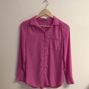 Pink Chiffon Button Up Blouse Top